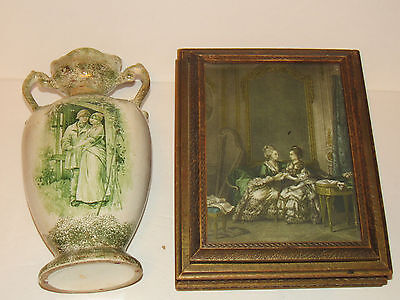 Vintage Victorian Art Vase Lady & Gentleman - wood Old Fashion Jewelry Box Chest