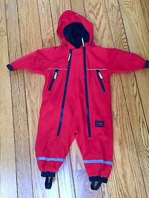 polarn o pyret snow ski suit hooded 9-12 months, size 80 Red, Boys or Girls
