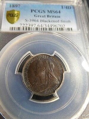 INV #Th22 Great Britain 1897 Farthing S-3964 Blackened Finish PCGS MS-64
