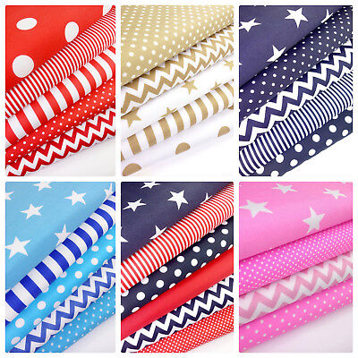 Geometric Fabric bundles Fat Quarters Polycotton Material Stripes Spots Craft