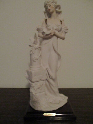 "G. Armani Lady with Doves 13""  Porcelain Figurine Sculpture Italy 1987"