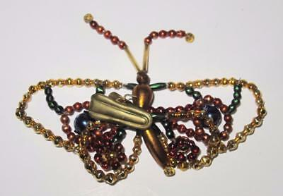 "Butterfly Beaded Christmas Ornament, 3 1/2""    LOT OF 5"
