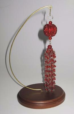"Ruby Red Glass Beaded Dangles Christmas Ornament, 6""     LOT OF 2"