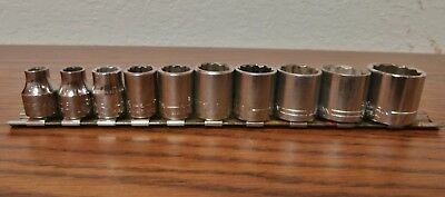 "Craftsman- 3/8"" Drive-12- Point S.a.e. Socket Set-10 Pcs.-Made In U.s.a."