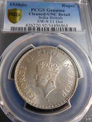INV #Th85 India British 1938(B) Rupee SW-9.11Dot PCGS Genuine Cleaned-UNC Detail