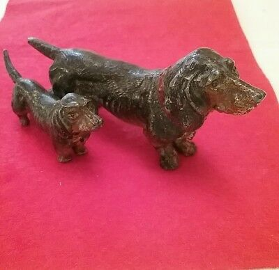 Pair Ofgerman Victorian Cold Painted Metal Daschhunds In The  Style Of Bergman
