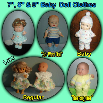"""Cute 7"""", 8"""" & 9"""" BABY or BERENGUER DOLL CLOTHES Handmade by the Crafty Grandmas"""