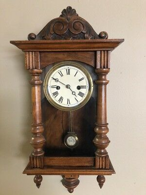 ANTIQUE-MANTLE PARLOR WALL CLOCK PENDULUM-MOVEMENT-DIAL Key Works.