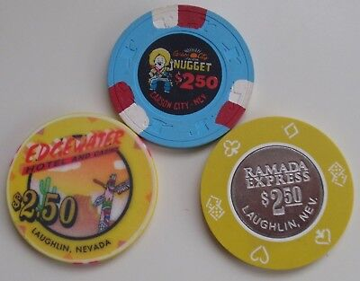 $2.50 Chips Casino NEVADA / LOT of 3 - Ramada Express, Carson City Nugget +