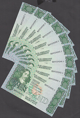 """South Africa R10 """"Stals"""" Uncirculated Banknotes x 10 Consecutive 1990"""