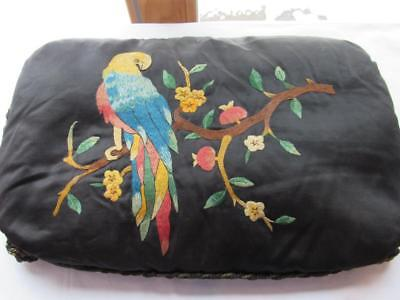 Antique Victorian Hand Embroidered Pillow Colorful Parrot on Branch Silk Black