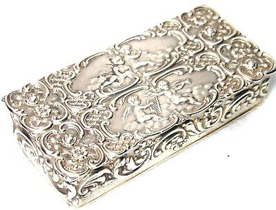 Vintage Sterling Silver Snuff Box With Ornate Lid Decoration Stunning Silver Box