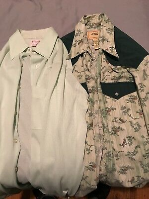 2 Vintage 70's 60's Long Button Down Green Bird All Over Shirts BDG Decotolene
