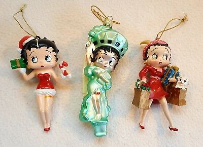 3 Betty Boop Christmas Ornaments CandyCane & Gift, Shopping & Statue of Liberty
