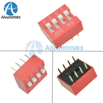 100PCS Slide Type Switch Module 2.54mm 4-Bit 4 Position Way DIP Red Pitch