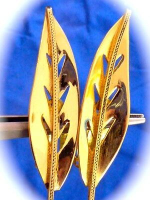Vintage Retro Mid Century Signed Whiting Davis Co. Gold Tone Leaf Earrings