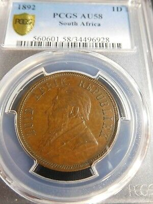 INV #Th251 South Africa 1892 Penny PCGS AU-58
