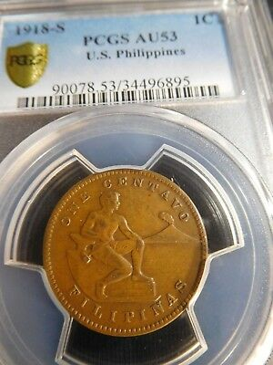 "INV #Th259 Philippines 1918-S Large ""S"" Centavo PCGS AU-53 Holder Omits Large S"