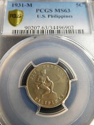 INV #Th262 Philippines 1931-M 5 Centavos PCGS MS-63