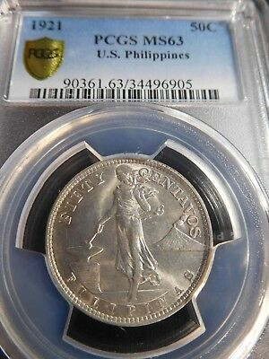 INV #Th267 Philippines 1921 50 Centavos PCGS MS-63