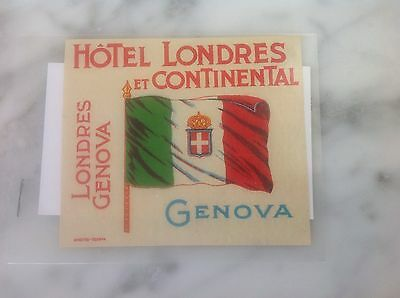 Italian Vintage Hotel Luggage Label Londres et Continental Genova Italy 40s Rare
