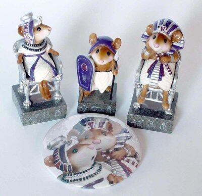 NEW Wee Forest Folk PURPLE Egyptian King, Queen, Pawn Chess Piece Ltd Ed & BONUS