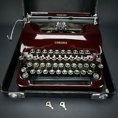 1940's Corona Burgundy Sterling Streamline Portable Typewriter STUNNING!