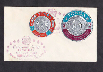 Tonga Coronation series FDC 1967 First Palladium coinage Foil stamps
