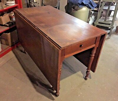 ANTIQUE CHERRY DROP LEAF GATE LEG TABLE DOVETAIL DRAWER 1800's