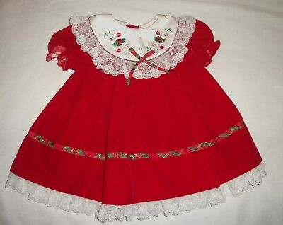 Vintage Baby Togs Holiday Dress Size 18 Months Red Velveteen