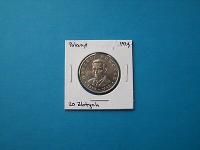 Poland Coins 1974 Year 20 Zloty Marseli Nowotko Nice Coin. Circulated