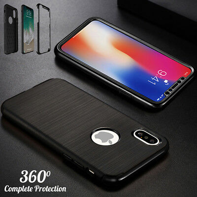 Hybrid 360 New Slim Shockproof Case Tempered Glass Cover For Apple iPhone X 8 7