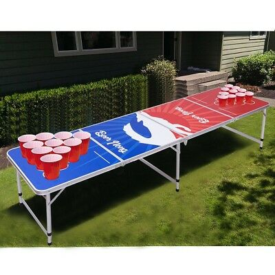 8 Ft Folding Aluminum Beer Ping Pong Table Camping Outdoor Indoor Game Sport Us