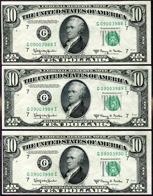 HGR SATURDAY 1950E $10 RARE ((Low Print Issue))((3 Consec#)) CHOICE UNCIRCULATED
