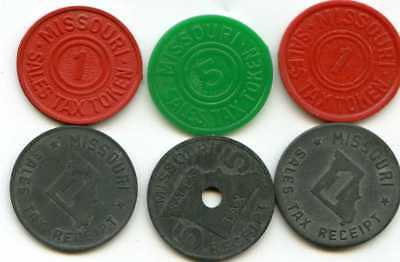 Six State of MISSOURI Sales Tax Tokens Receipts ASSORTED Red Green & Metallic