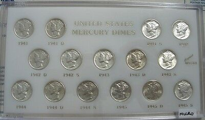 Set Of Mercury Silver Dimes 1941-1945 (15 Coins).. Ch/gem Bu  With 1945-S Micro