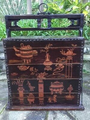 Antique Chinese Dowry Traveling Stackable Box