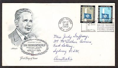 United Nations  1962  FDC, 1st Ann. Dag Hammarskjold.