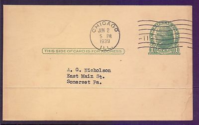 United States  1939  Letter Card with 1c Jefferson stamp.