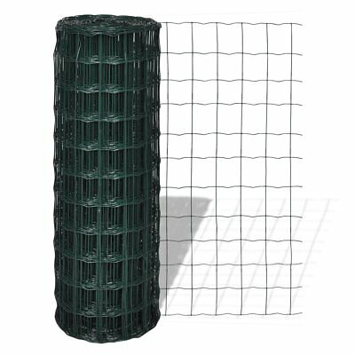 vidaXL 2x25m Euro Fence Steel PVC Wire Netting Mesh Poultry Chicken Coop 100mm