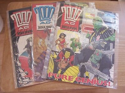 3 Comics 2000AD Featuring Judge Dredd No 577 578 579 1988 Excellent Condition