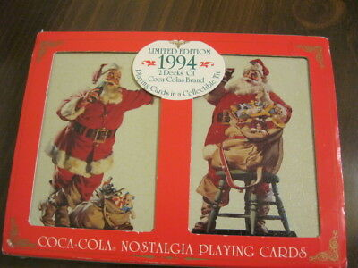 Coca Cola Playing Cards 2 Decks With Tin 1994 Santa Claus New - Price Reduced