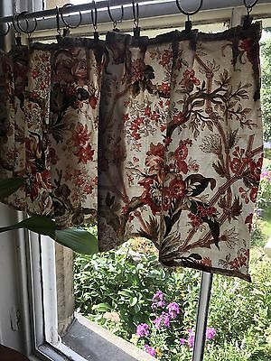 Antique Chinoiserie Toile Cotton French Curtain panel Valance  c1890