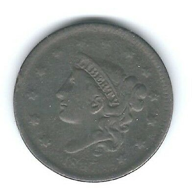 1837 Large Cent Head Of 1838  Slim Bust Beaded Cords