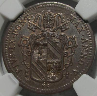 Papal States. 1/2 Baiocco, 1850R V, NGC MS 64 Brown, Die Clashing, Copper