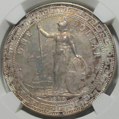 Great Britain, Trade Dollar, 1899B, Toned NGC MS 62 Uncirculated, Silver