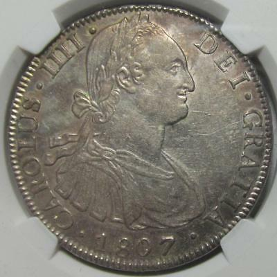 Bolivia, 8 Reales, 1807PTS PJ, NGC AU 58, Choice Almost Unc., .7797 Ounce Silver