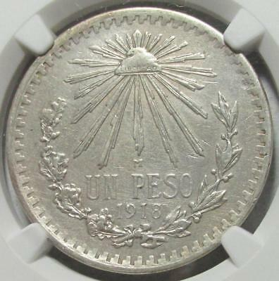 Mexico, Peso, 1918, NGC AU Details Surface Hairlines, Better Date, .46 Oz Silver