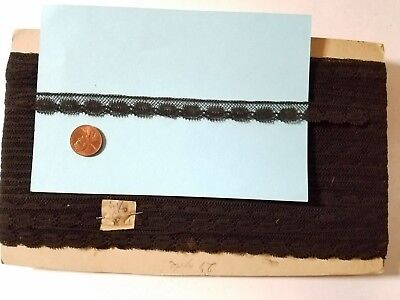 """.5"""" thin antique Black Val lace trim vintage 5 yards Old stock"""