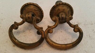 Pair Victorian  Antique Metal Drop Drawer Pulls Handles  Painted (54Ha)